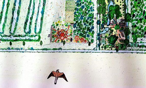 Detail van tekening met bijen- vlindertuin en kruidentuin